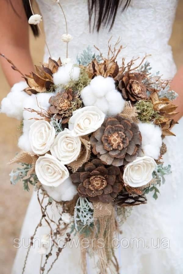 Букет невесты зимний с шишками 3