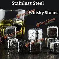 6шт нержавеющей стали виски виски камни куб ледник пород