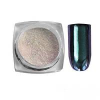 Зеркальный блеск для втирки с фиолетовым мерцанием темно-зеленого цвета