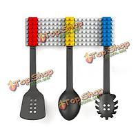 3шт творческая кухонная посуда силикона набора столовых приборов токаря вилки ложки кухонных принадлежностей блока установлена