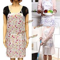 Женщины цветочные водонепроницаемый удобные приготовления пищи повар передний карман кухня ресторана фартук