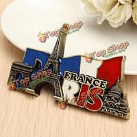Париж Франция путешествия коллекционные металлический стереоскопического холодильник магнит стикер туристический сувенир