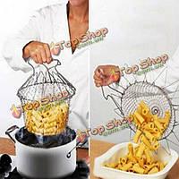 Складной пара полоскания штамм обжарить повар корзина фильтр чистый инструмент кухни кулинария