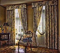 Красивые шторы в гостиную с прямым ламбрекеном
