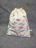 Рюкзак тканевый , льняной, с вышивкой  ручной работы