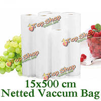 Утолщенной 15x500 сетчатой ??еды вакуумный мешок еды vegetabel фруктов мяса свежего вакуума мешок запечатывания