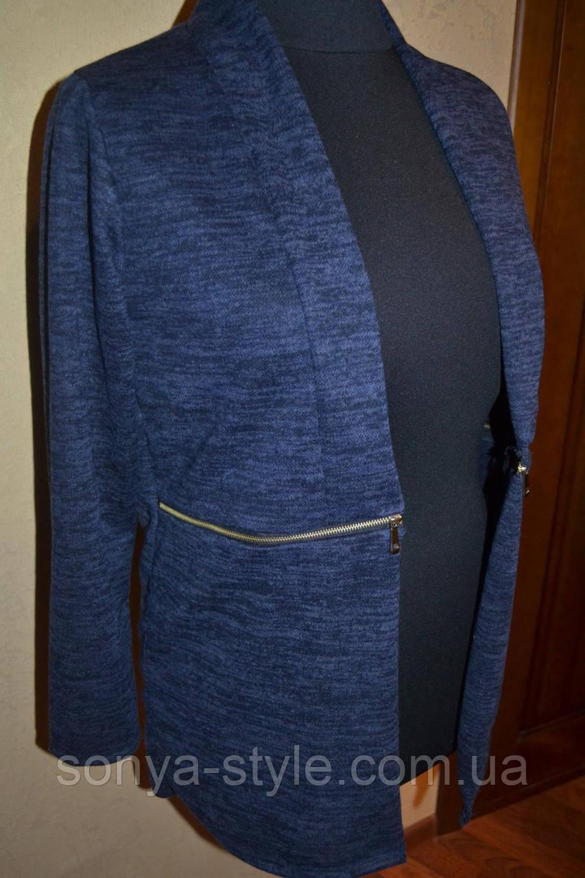 Кардиган пиджак из меланжа больших размеров
