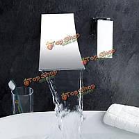 Современной ванной смеситель для раковины одной ручкой смеситель настенный хром латунь водопад