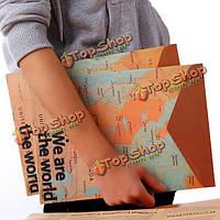 Канцелярские принадлежности Винтаж карта мира стиль мешок бумажный скоросшиватель