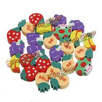 50шт фрукты резиновый карандаш ластик набор клубника ребенок дети подарок игрушки