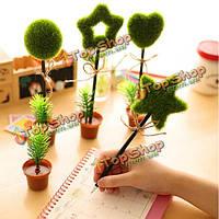Прекрасные зеленые растения горшечные форма шариковая ручка шарика