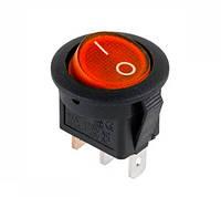 Вимикач клавішний круглий червоний з підсвічуванням KCD105