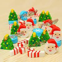 35шт милый Дед Мороз Снежинка Рождественская елка резиновая мини-ластики