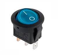 Выключатель клавишный круглый синий с подсветкой KCD105