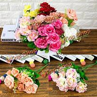 Красочные невесты букет искусственный шелк цветок розы домашний декор свадебного банкета
