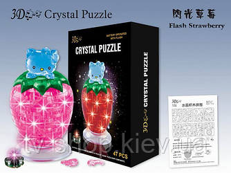 Китти на клубнике(свет)  Crystal Puzzle 3D головоломка