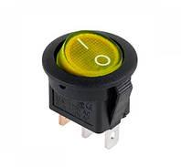 Выключатель клавишный круглый желтый с подсветкой KCD105