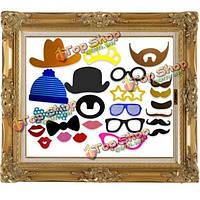24шт Photo Booth & DIY рама шлема усов реквизита свадьба вечеринка по случаю дня рождения весело декора