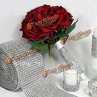 Свадьба diamone поймала в сети художественное оформление свадебной вечеринки ленты кристалла фальшивого бриллианта обертки