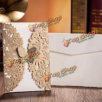 10шт золотой бумаги приглашения свадьба конверт лазерная резка свадебные приглашения на день рождения партбилет