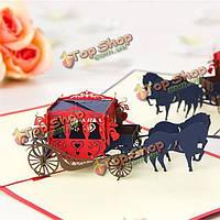 Свадебная карета 3d всплывающее Поздравительная открытка Валентина свадебное предложение партии открытку