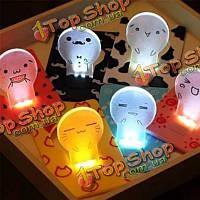 Сворачивание лампы карты милые LED легкие мультипликационные поздравительные открытки подарка карты бумажника лампочки кармана