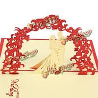 3-я свадебная поздравительная открытка приглашения силуэта Дня святого Валентина ручной работы
