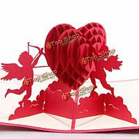 Сердце КУПИДОН 3d всплывающее приветствие предложение карт Валентина свадьбы приветствие пригласительный билет