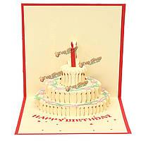 Ручная работа 3d всплывал С Днем Рождения открытки пригласительный билет