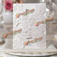 10шт белый дамасской тиснением цветы лазерной карты день рождения резки свадьба пригласительный билет