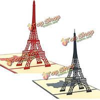 Ручной работы 3d всплывал Эйфелеву башню поздравительную открытку годовщина день рождения пригласительный билет