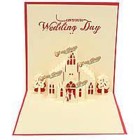 Ручной работы 3d всплывал день свадьбы поздравительную открытку пригласительный билет