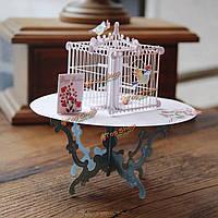 Ручной работы 3d всплывал приветствие карточный стол птичьей клетки день рождения свадьба партия пригласительный билет