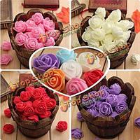 50шт Colourfast ручной пены розы цветы букет партии декора DIY свадьбы