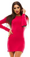 Модное женское платье мини прилегающего фасона с заплатками на локтях из эко кожи ангора