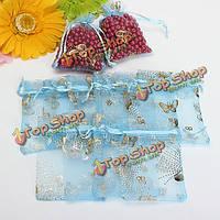 100шт голубая бабочка шнурок из органзы в подарок конфеты мешок ювелирных изделий мешок
