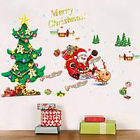 С Рождеством Христовым стенная этикетка дерева Санта Клауса removerable стенной внутренний декор стеклянной двери DIY