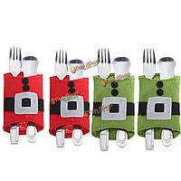 4шт рождественская одежда столовых приборов столовой посуды покрывает художественное оформление ужина серебро