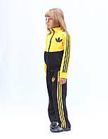 Яркий модный Спортивный костюм желтый, белый, малиновый, голубой. Адидас