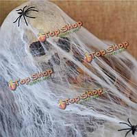 Серебристых паутина с 2 пауками Хэллоуин дома партии дом с привидениями декор