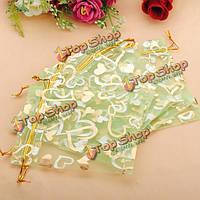 100шт зеленый сердце органза ювелирные изделия сумка подарок мешок пользу