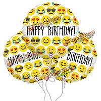 3шт 18-дюймов выражение день рождения счастливый воздушный шар воздушный шар смайликов фольги для дня рождения украшения партии balloo