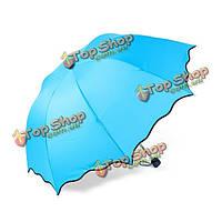 Механическая картина маслом анти-УФ 3 складной женщины солнце дождя зонтики