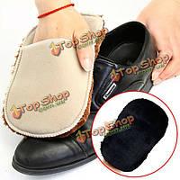 2шт многофункциональный мягкий плюш вытирать обувь инструмент рукавицей щетка чистки перчатки обувь по уходу