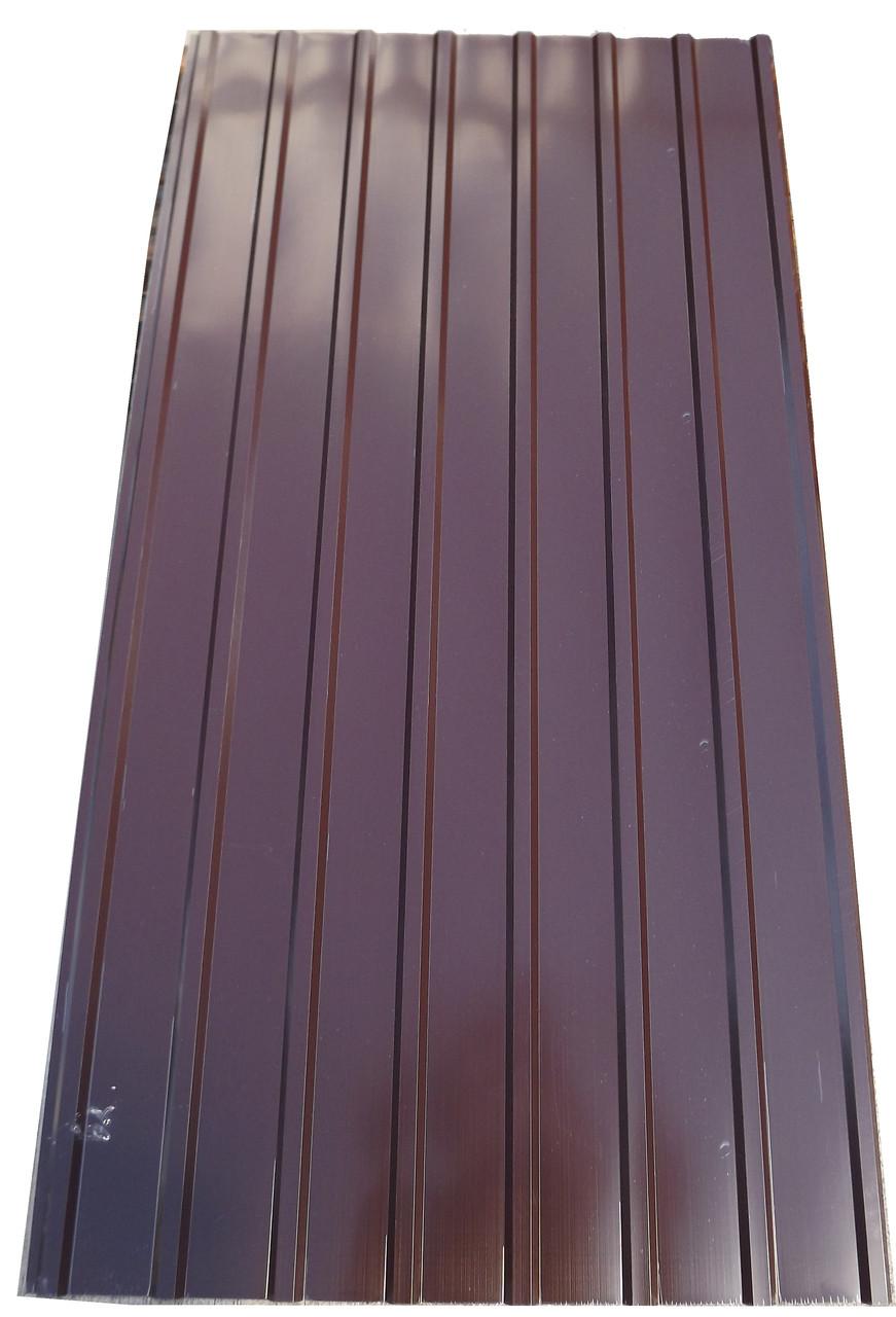 Профнастил ПК-12, кровельный 8-ми волновой, 2м Х 0,95м, толщина 0,3 мм, цвет: шоколад