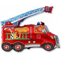 Машины экскаватор, пожарная, полиция, фольгированный шарик с гелием, фото 1