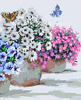 Картина по номерам без упаковки 'Цветы в горшочках', 40*50см, (КНО2933)
