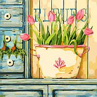 Картина по номерам без упаковки Розовые тюльпаны, 40*40см, (КНО2028)