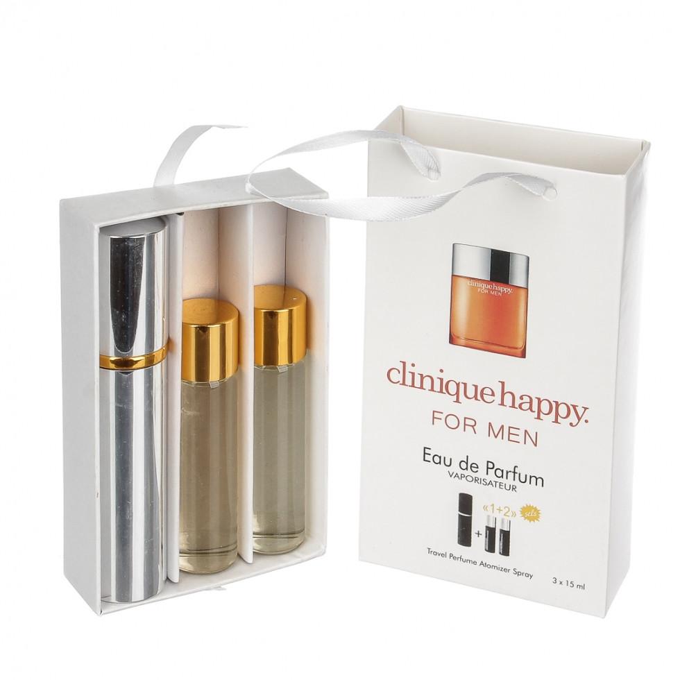 Набор мужской с феромонами Clinique Happy For Men (Клиник Хеппи фо Мен) 3 x15 мл - ONE-Parfum - интернет-магазин парфюмерии и косметики в Киеве