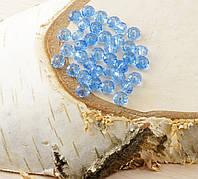 Бусина рондель стекло синяя прозрачная (10шт) 4мм
